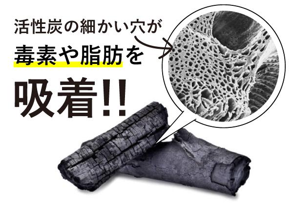 活性炭が毒素や脂肪を吸着